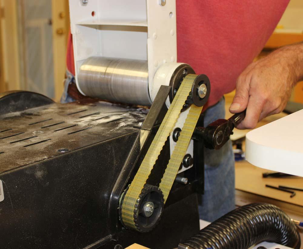 rikon belt sander. entire belt platen can be removed rikon sander